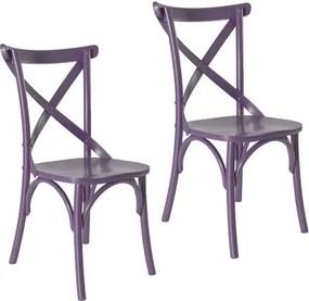 Kit 2 Cadeiras Paris Estilo Vintage em Madeira Maciça - Pintura Laca Roxo