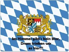 Placa Decorativa Baviera Azul e Branco Média em Metal