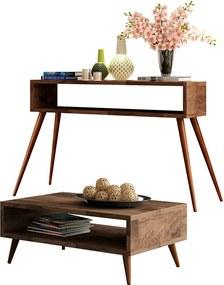 Conjunto Aparador e Mesa de Centro Decorativo Sala de Estar Pés Palito Acre Deck - Gran Belo