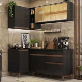 Cozinha Completa de Canto Madesa Reims 262001 com Armário e Balcão Preto Cor:Preto