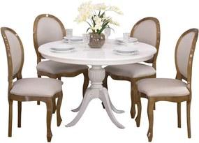 Conjunto Sala de Jantar Mesa Carla com 4 Cadeiras Medalhão Antique Estofada Liso - Wood Prime 44659