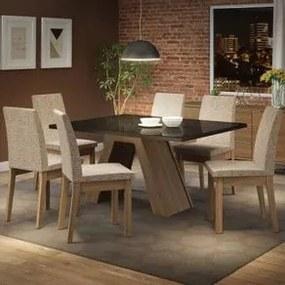 Conjunto Sala de Jantar Madesa Pietra Mesa Tampo de Vidro com 6 Cadeiras Rustic/Preto/Fendi Cor:Rustic/Preto/Fendi
