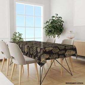 Toalha de Mesa Retangular Para 8 Lugares Pinheiros Natalinos Amarelos 1.45m x 2.70m Único