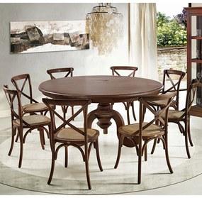 Jogo Mesa de Jantar Mariah Canela 160cm com 08 Cadeiras Blair Canela Rattan - Gran Belo
