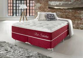 Conjunto Cama Box King Red Seduction Molas Ensacadas 193x203x74 Colchão + Cama Box