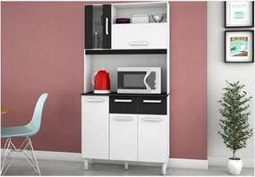 Kit para Cozinha Ellen 5 Portas Branco com Preto - Poquema