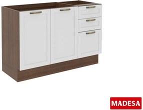 Balcão de Cozinha Sem Pia e Tampo 2 Portas Vintage G2412 Branco/Rustic - Madesa