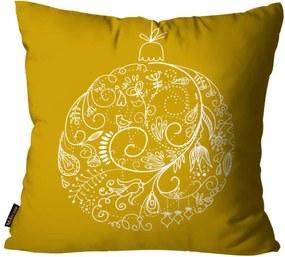 Capas para Almofada Premium Cetim Mdecore Natal Bola de Natal Amarela 45x45cm