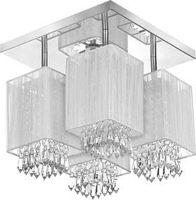 Lustre Plafon Quadclear Organza Quadrado Branco Maravilhoso