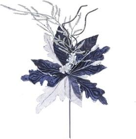 Flor Decoração Natal Cabo Plástico Curto 45X26Cm Cor Azul