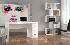 Conjunto Escritório 2 Peças com Mesa 3 Gavetas e Estante Livreiro Office Plus Appunto - Branco