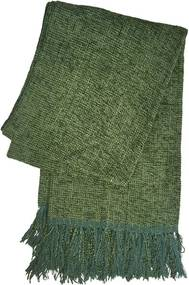 Xale De Sofá De Tear Em Chenile 1,80 X 1,20 Verde Escuro