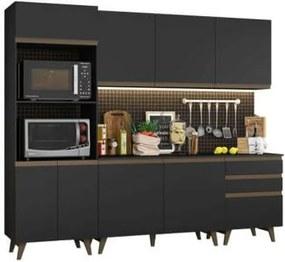 Cozinha Compacta Madesa Reims com Balcão - 8 Portas 3 Gavetas Preto
