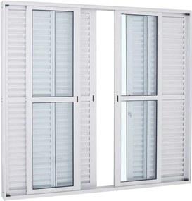 Porta Balcão de Alumínio de Correr Alumifort Branca 6 Folhas 216x250x13 - Sasazaki - Sasazaki