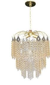 Lustre Redondo Cristal Acrílico Bivolt Gramado Dourado 42x75