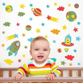 Adesivo de Parede Infantil Quartinhos Espaço Baby Colorido