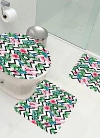 Jogo de Banheiro Sublimático Floral 3 Peças