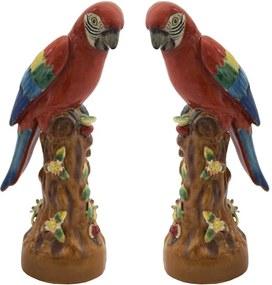 Par De Pássaro Em Porcelana Colorido - 30x13x14cm
