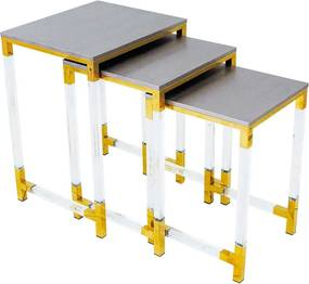Conjunto de Mesa Cinza com Dourado - 62x46x40cm