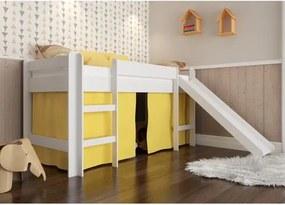 Cama Infantil com Escorregador e Cortina Amarela - Branco