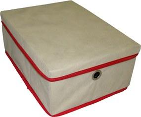 Caixa Organizadora com tampa e ilhós 28x15x38cm Organibox bege/vermelho