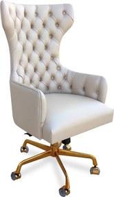 Poltrona Giratória Berger Base Alumínio Gold Ajuste de Altura e Relax Design Clássico