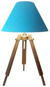 Abajur Tripe Madeira Md-2025 Cúpula em Tecido 25/15x40cm Azul Turquesa - Bivolt