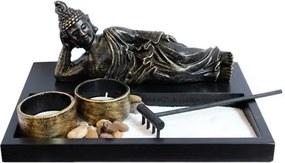 Jardim Zen com Buda deitado e Porta Velas
