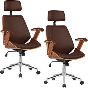 Kit 02 Cadeiras de Escritório Presidente Giratória com Regulagem de Altura Akon PU Marrom - Gran Belo