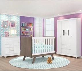 Quarto de Bebê Completo Encanto e Berço Ametista Branco/Malbec - PN Baby