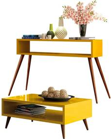 Conjunto Aparador e Mesa de Centro Decorativo Sala de Estar Pés Palito Acre Amarelo - Gran Belo