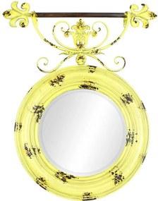Espelho Redondo Amarelo Oldway em Metal - 90x76x6cm