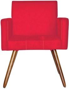 Poltrona Decorativa Kasa Sofá Vitoria Suede Vermelho