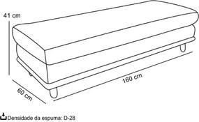 Puff Gaia 160cm Sintético Preto - Gran Belo