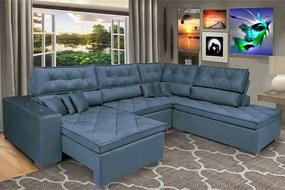 Sofa De Canto Retrátil E Reclinável Com Molas Cama Inbox Platinum 3,00x2,36 Tecido Suede Azul