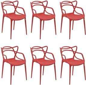 Kit 6 Cadeiras Decorativas Sala e Cozinha Feliti (PP) Vermelha - Gran Belo