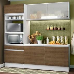 Cozinha Compacta Madesa Topazio com Balcão e Tampo Branco/Rustic Cor:Branco/Rustic