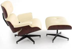 Poltrona Charles Eames com Puff Courissimo Bege