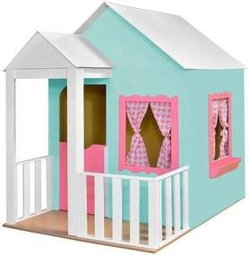Casinha de Brinquedo com Cercado Verde Aguá/Rosa - Criança Feliz