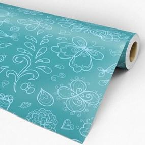 Papel de parede adesivo floral verde e azul