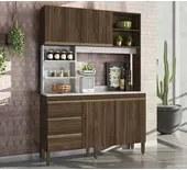 Cozinha Compacta Viena 7250 Amêndoa/Mármore Branco Peternella