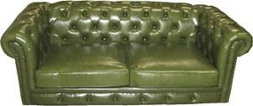 Sofá em Couro Verde 2 Lugares em Capitonê