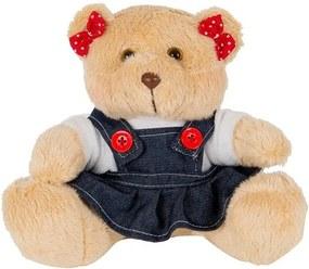 Ursa Soft Mini Vestido Jeans Laço Vermelho