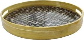 Bandeja Redonda Preta Madrepérola Alça em Bambu 6 cm x 50 cm