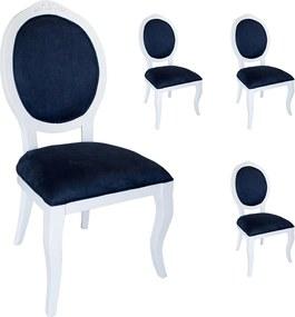 Jogo 4 Cadeiras Medalhão Lille - Branco - Tecido Suede Azul Mantova Provençal Kleiner Schein