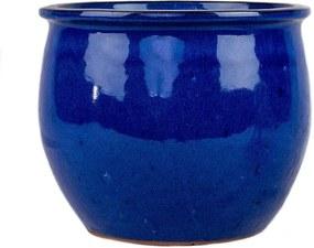 Cachepot Cerâmica Esmaltada Importado Bordas Azul D25cm x A23cm