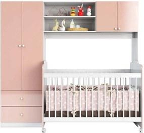 Quarto de Bebe Conjugado C/ Guarda Roupa e Berço Ternura Branco/Rosa Peternella