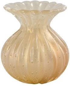 Vaso de Murano Creme com Ouro Trentino