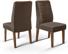 Conjunto 2 Cadeiras Curvata Rústico Malbec Tecido Veludo Moca