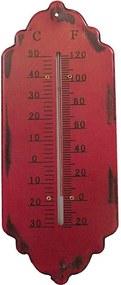 Termômetro em Metal Trabalhado Vermelho
